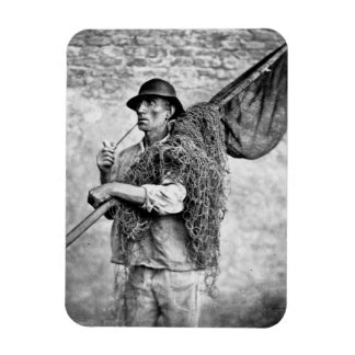 Portrait of a Fisherman Carrying his Nets (b/w pho Rectangular Photo Magnet