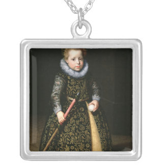 Portrait of a four-year old boy with club and necklace