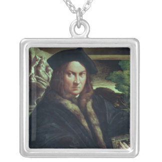 Portrait of a gentleman wearing a beret silver plated necklace