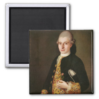 Portrait of a Gentleman with a Rose Buttonhole 2 Inch Square Magnet