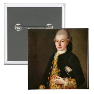 Portrait of a Gentleman with a Rose Buttonhole Pinback Button