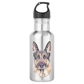 Portrait of a German Shepherd Colored Sketched Dog Water Bottle