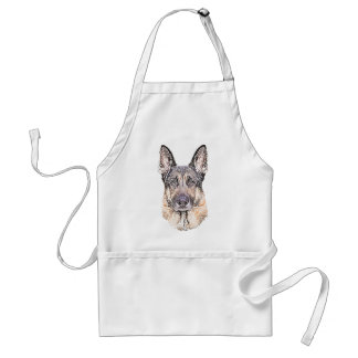 Portrait of a German Shepherd Dog Colored Sketch Adult Apron
