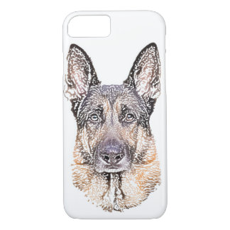 Portrait of a German Shepherd Dog Colored Sketch iPhone 7 Case
