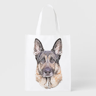Portrait of a German Shepherd Dog Sketched Art Reusable Grocery Bags