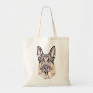 Portrait of a German Shepherd Dog Sketched Art Tote Bag