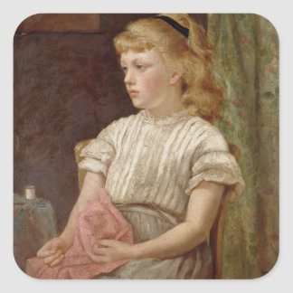 Portrait of a Girl, 1896 (oil on canvas) Square Sticker