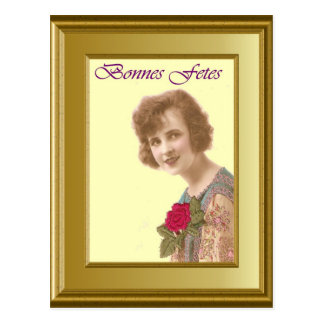 Portrait of a girl, Bonnes Fetes  1930 Postcard
