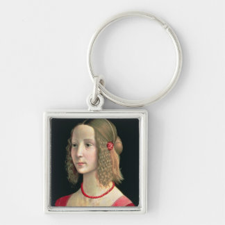 Portrait of a Girl, c.1490 Silver-Colored Square Keychain