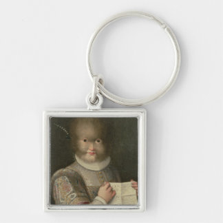 Portrait of a Girl Covered in Hair Keychain