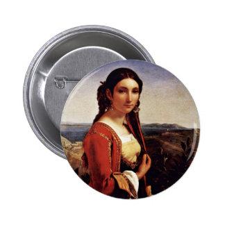 Portrait Of A Girl From Retuna By Robert Léopold ( Pinback Buttons