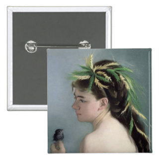Portrait of a Girl holding a Sparrow 2 Inch Square Button