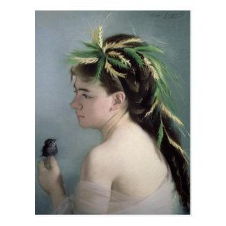 Portrait of a Girl holding a Sparrow Postcard