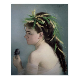 Portrait of a Girl holding a Sparrow Poster