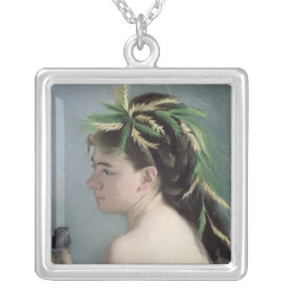 Portrait of a Girl holding a Sparrow Silver Plated Necklace