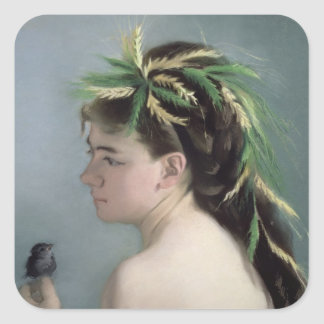 Portrait of a Girl holding a Sparrow Square Sticker