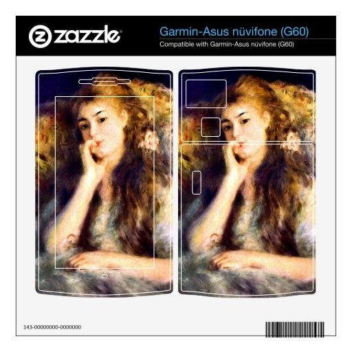 Portrait of a girl in thoughts by Pierre Renoir Garmin Asus Nuvifone Skins