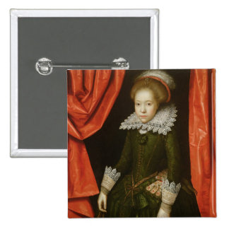 Portrait of a girl of the de Ligne family 2 Inch Square Button