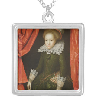 Portrait of a girl of the de Ligne family Silver Plated Necklace