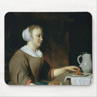 Portrait of a Girl Seated at a Table Mouse Pad
