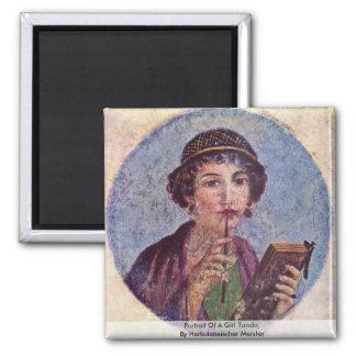 Portrait Of A Girl Tondo 2 Inch Square Magnet