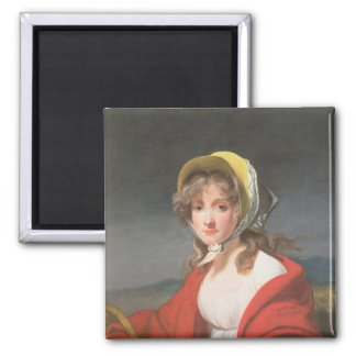 Portrait of a girl wearing a red shawl 2 inch square magnet