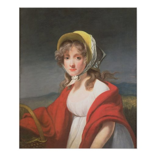 Portrait of a girl wearing a red shawl poster
