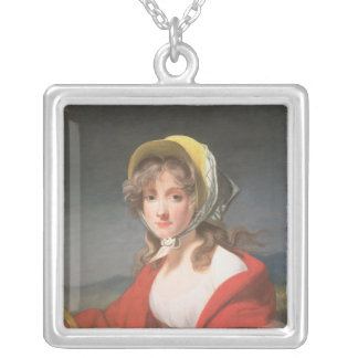 Portrait of a girl wearing a red shawl silver plated necklace