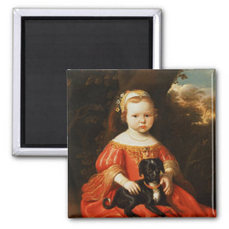 Portrait of a Girl with a Dog Fridge Magnet