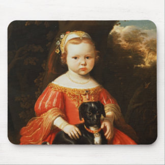 Portrait of a Girl with a Dog Mouse Pad