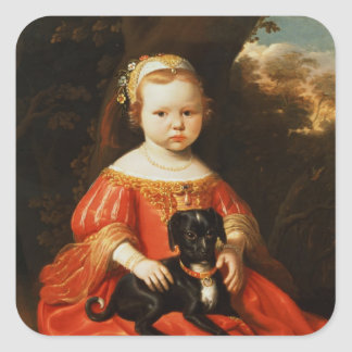 Portrait of a Girl with a Dog Square Sticker