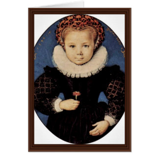 Portrait Of A Girl With Carnation Oval By Oliver D Greeting Card