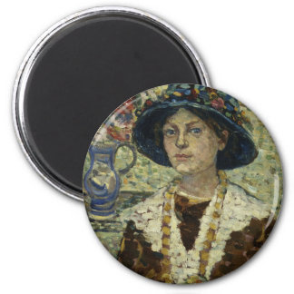 Portrait of a Girl with Flowers Magnet