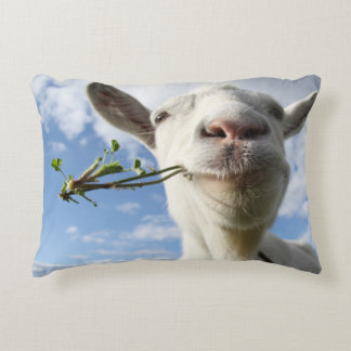 Portrait Of A Goat Eating A Grass On A Green Decorative Pillow