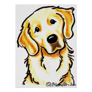 Portrait of a Golden Retriever Poster
