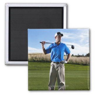 Portrait of a golfer on a sunny day. magnet