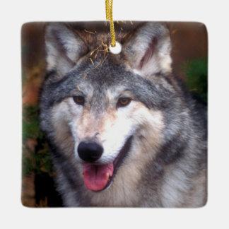 Portrait of a gray wolf ceramic ornament