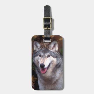 Portrait of a gray wolf luggage tag