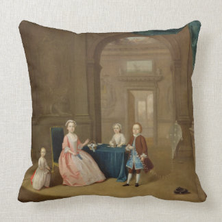 Portrait of a Group of Children, c.1743 (oil on ca Throw Pillow