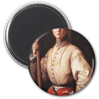 Portrait Of A Halberd By Pontormo Jacopo (Best Qua Magnets