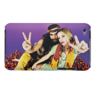 Portrait of a Hippy Couple Sitting Cross-legged Barely There iPod Covers