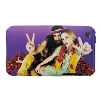 Portrait of a Hippy Couple Sitting Cross-legged iPhone 3 Case-Mate Case