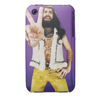 Portrait of a Hippy Gesturing Case-Mate iPhone 3 Case