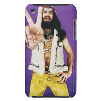 Portrait of a Hippy Gesturing iPod Touch Cases