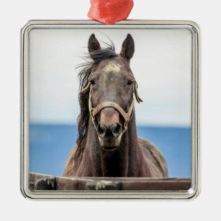 Portrait of a horse metal ornament