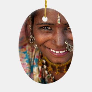 Portrait of a India Rajasthani woman Ceramic Ornament