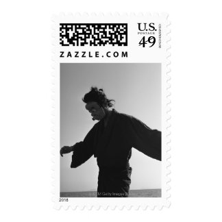 Portrait of a Japanese man in traditional 2 Postage Stamps
