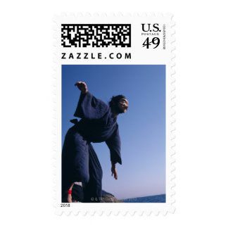 Portrait of a Japanese man in traditional Postage