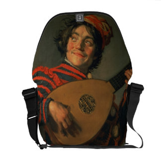 Portrait of a Jester with a Lute (oil on canvas) Courier Bag