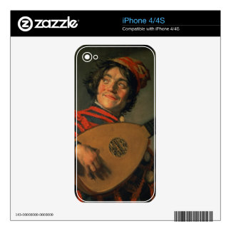 Portrait of a Jester with a Lute (oil on canvas) iPhone 4 Skin